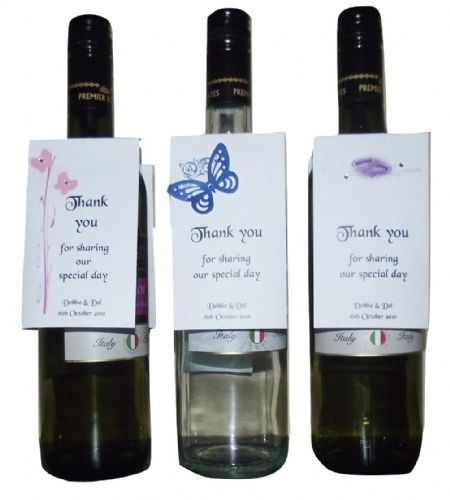Wine Bottle Tags Labels  Personalised Wedding Other occassion various colours with diamontes